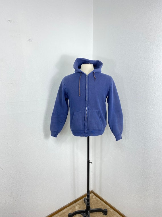 60s vintage 100% cotton zip up thermal lined hoodi