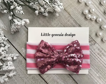 Sequin bow headband, toddler, baby