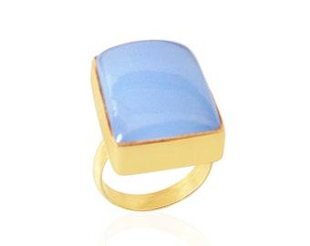 Size 11 EPJ-RC20CEA24-2 Blue Goldstone Dome Cabochon Stone Ring Gemstone Cabochon Stone Simple Carved