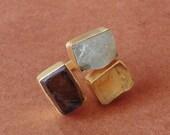 Family Birthstone Ring, Smoky Quartz Ring, Three Gemstone Ring, Aquamarine Ring, Statement Ring, Chunky Fashion Ring, Daily Wear Jewelry