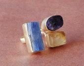 22K Gold Plated Ring, Semi Precious Stone Ring, 3 Birthstone Ring, Amethyst Ring, Natural Citrine Ring, Chunky Fashion Ring, Statement Ring