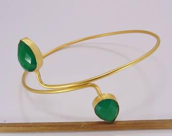 Upperarm Bangle brass Green onyx green stone