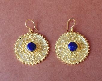 Artisan Crafted Earrings, Lapis Lazuli Earrings, Designer Earrings, Party Wear Earrings, Dangle Earrings For Women, Brass Earrings