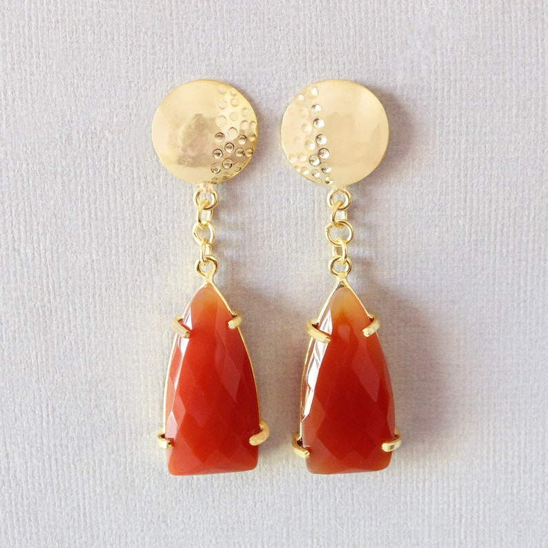 Prong Set Earrings 18K Gold Plated Brass Earrings Handmade Faceted Red Onyx Gemstone Teardrop Earrings Beautiful Earrings Post Earrings