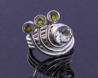 925 Sterling Silver Ring, Natural Green Amethyst And Peridot Gemstone Ring, Designer Ring, Statement Ring, Everyday Wear Ring, Gift For Her