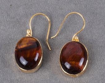 Handmade Ring, Natural Tigers Eye Earrings, Bezel Set Earrings, Oval Stone Earrings, Stunning Earrings, Dangle Earrings, Holiday Gifts