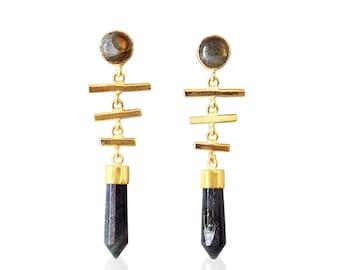 Gold Plated Earrings, Labradorite Earrings, Unique Earrings, Women Earrings, Party Wear Earrings, Fashion Earrings, Dangle Earrings