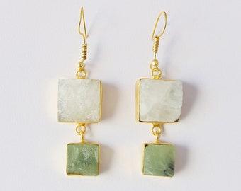 Handmade Earrings, Rainbow Moonstone Earrings, Prehnite Earrings, Gemstone Earrings, Bezel Set Earrings, Two Stone Earrings, Gifts For Mom