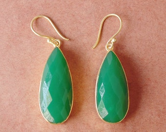 Green Onyx Earrings, Faceted Stone Earrings, Handmade Earrings, Pear Shape Earrings, Bezel Set Earrings, Dangle Earrings, Birthday Earrings