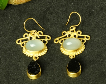 White Moonstone Earrings, Matte Gold Earrings, Black Tourmaline Earrings, Dainty Earrings, Elegant Earrings, Statement Earrings