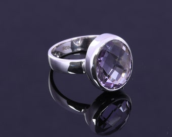 Genuine Purple Amethyst Ring, 925 Sterling Silver Ring, Faceted Gemstone Ring, Bezel Set Ring, Statement Ring, February Birthstone Jewelry
