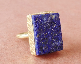 Natural Lapis Lazuli Ring, 18K Gold Plated Brass Ring, Bezel Set Ring, Raw Gemstone Ring, Birthstone Stacking Ring, Unique Gift For Her