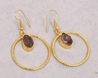 Gold Plated Earrings, Herkimer Diamond Earrings, Circle Earrings, Handcrafted Earrings, Dainty Earrings, Fashion Earrings, Dangle Earrings