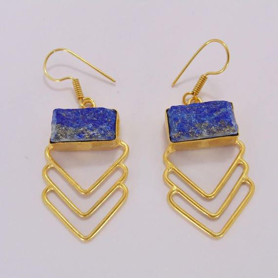 Brand New Handmade Lapis Lazuli /& Turquoise 18k Gold Plated Hanging Earrings