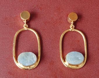 Handmade Natural Aquamarine Earrings, Gold Plated Earrings, Raw Gemstone Earrings, Dangle Earrings, Unique Gift For Women