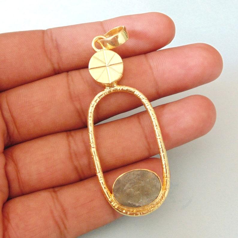 Natural Raw Aquamarine Pendant Unique Gift For Women Birthstone Pendant Oval Gemstone Pendant Organic Stone Pendant Gold Plated Pendant