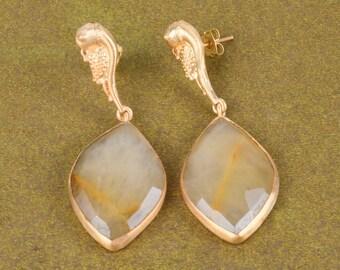 Beautiful Earrings, 18K Gold Plated Earrings, Yellow Aventurine Earrings, Faceted Stone Earrings, Dangle Earrings, Christmas Earrings