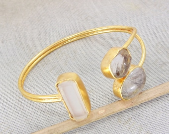 18K Gold Plated Bangle, Black Rutile Bangle, Handmade Bangle, Crystal Quartz Bangle, Gold Plated Bangle, Adjustable Bangle, Gift For Women
