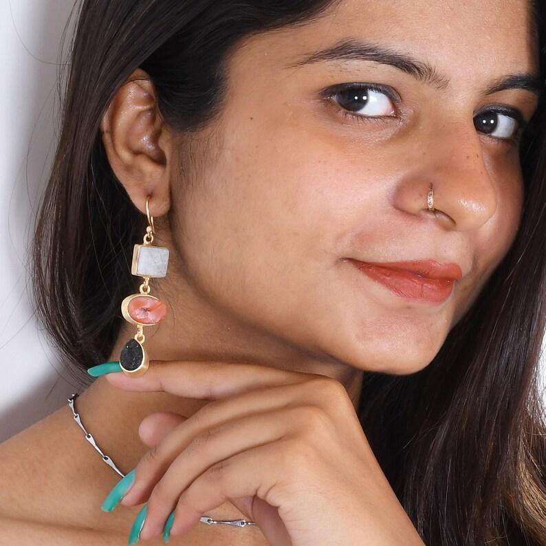 Three Stone Earrings 18K Gold Plated Earrings Long Dangle Earrings Handmade Earrings Carnelian Earrings Rainbow Moonstone Earrings