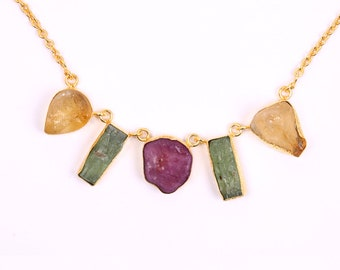 Handmade Necklace, Green Kyanite Necklace, 18K Gold Plated Necklace, Raw Ruby Necklace, Fashion Necklace, Bib Necklace, Citrine Necklace