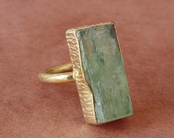 Handmade Ring, Natural Green Kyanite Ring, Gold Plated Ring, Bezel Set Ring, Gemstone Stackable Ring, Crystal Healing Jewelry