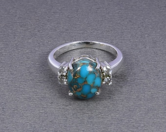 925 Sterling Silver Ring, Natural Blue Turquoise Gemstone Ring, Modern Silver Ring, Engagement Ring, Solitaire Ring For Women