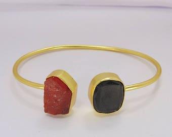Black Onyx Bangle - Gold Vermeil Bangle - Carnelian Bangle - Raw Stone Bangle - Double Stone Bangle - Adjustable Bangle - Women Bangle