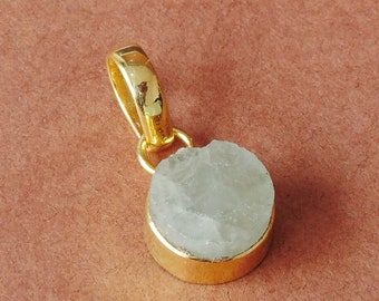 Raw Mineral Pendant, Natural Aquamarine Pendant, March Birthstone Pendant, Gold Plated Pendant, Round Stone Pendant, One of a Kind Jewelry