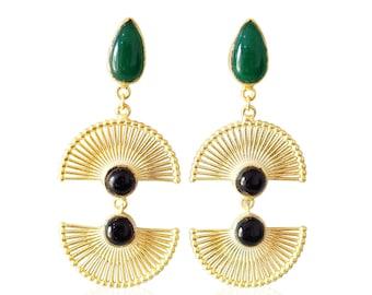 Handcrafted Earrings, Green Onyx Earrings, Gold Plated Earrings, Black Onyx Earrings, Two Gemstone Earrings, Designer Earrings For Women