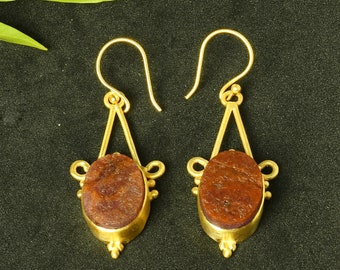 Matte Gold Earrings, Red Ruby Earrings, Natural Stone Earrings, Raw Stone Earrings, Gorgeous Earrings, Dangle Earrings, Gift Idea For Sister