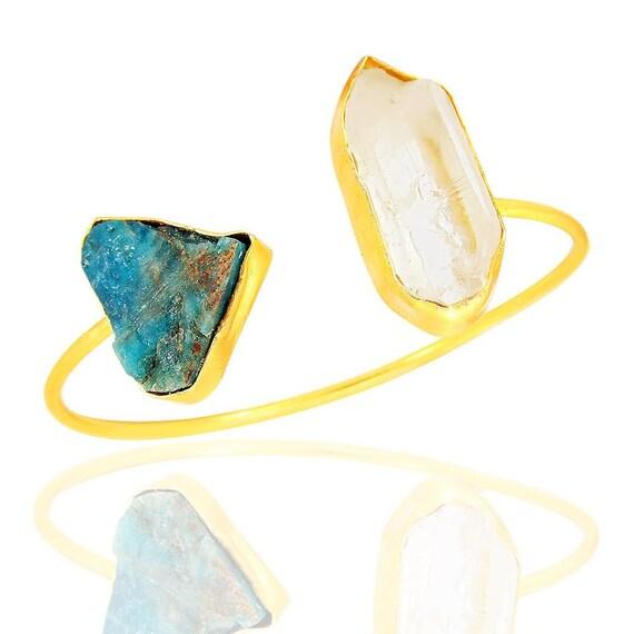 Amethyst and Aquamarine Gemstone Statement Pendant Bhagatjewels 22k Gold Vermeil Raw Citrine