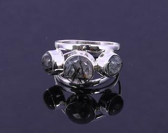 925 Sterling Silver Ring, Black Tourmalated Quartz Ring, Semi-Precious Stone Ring, Designer Ring, Unique Gift for Her
