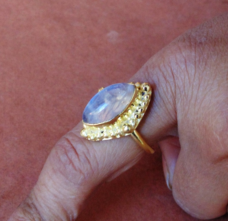 Gold Plated Ring Semi Precious Ring Marquise Ring Stacking Ring Women/'s Ring Fashion Ring Rainbow Moonstone Ring June Birthstone Ring