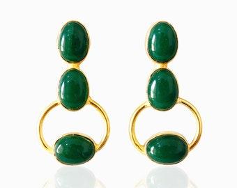 Green Onyx Earrings, Cabochon Earrings, Bezel Set Earrings, Dangle Earrings, Fashion Earrings, Party Wear Earrings, Post Stud Earrings