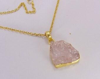18K Gold Plated Necklace, Rose Quartz Necklace, Love Stone Necklace, Rough Gemstone Pendant, Fashion Necklace, Chain Pendant, Gift For Women