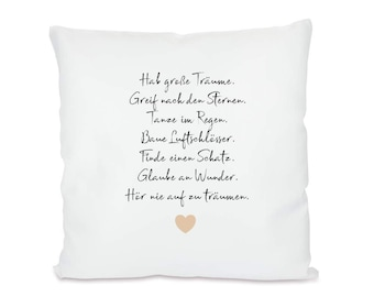 """Pillow with saying """"Have big dreams"""", birthday gift, youth consecration, confirmation and Abi, mutmacher gift idea"""
