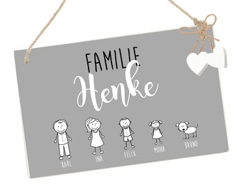 personalized nameplate name tag family in gray