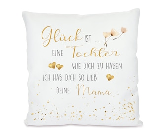 """Mother daughter pillow with saying """"Happiness is..."""", 7 motifs to choose from"""