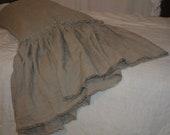 Linen pillow case with long ruffle and fringe queen ruffled pillowcase standard pillow cover king pillowcase home decor gift for grandma