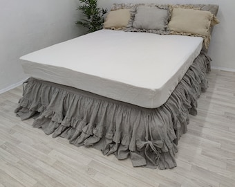 Stone washed linen Fitted bed sheet crib single twin full double queen California king striped off white dark linen bedding shabby fabric