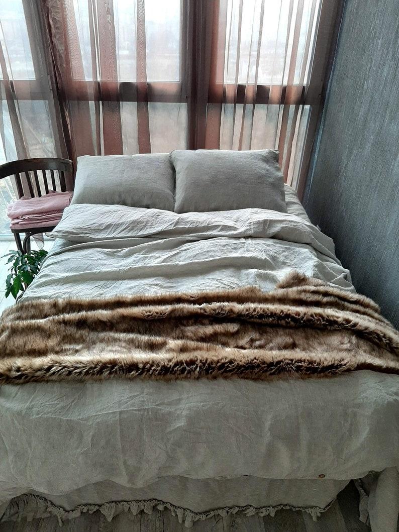 100%organic linen Duvet cover2 pillow cases Queen bedding image 0