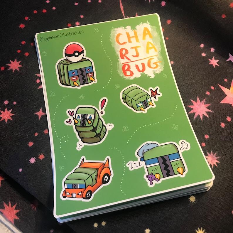 Kawaii Charjabug Sticker Sheet  Electric Bug Type Pokemon image 0