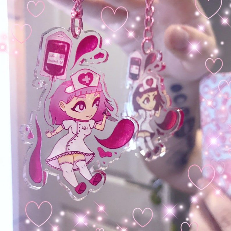 Blood Chan  Double Sided Clear Acrylic Charm Keychain image 0