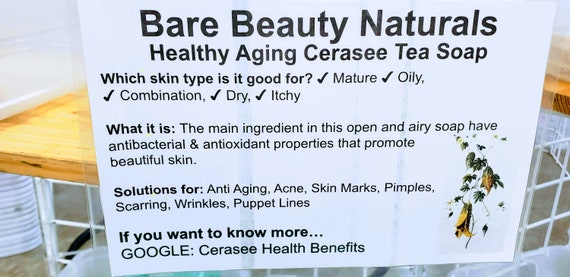 Cerasee Tea Soap // 100% Natural // Healthy Aging // prevent skin cell  damage // age fighter// free exfoliating Soap bag with purchase