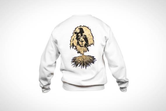 Winter Sweater White RG Logo & Lion Roots in Gold and Black Print