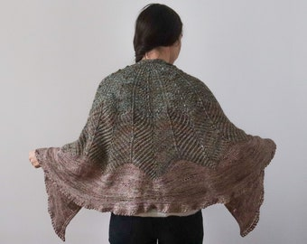 Artica shawl knitting pattern with lace brioche garter short rows and applied lace edge