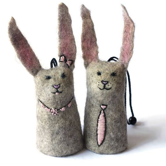 Cute Bunnies Key Case Felted Key Bell Easter Bunny Gifts Etsy