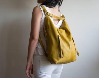 Leather Tote Bag, Convertible backpack, Leather backpack, Full grain leather, Leather handbag, Hobo backpack, Hobo tote bag, Mustard Yellow