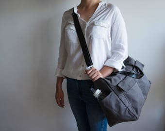 Waxed canvas bag, 11 pocket diaper bag, Waxed canvas diaper bag, Waxed canvas tote, Shoulder bag, Canvas tote bag, Leather canvas bag, Gray