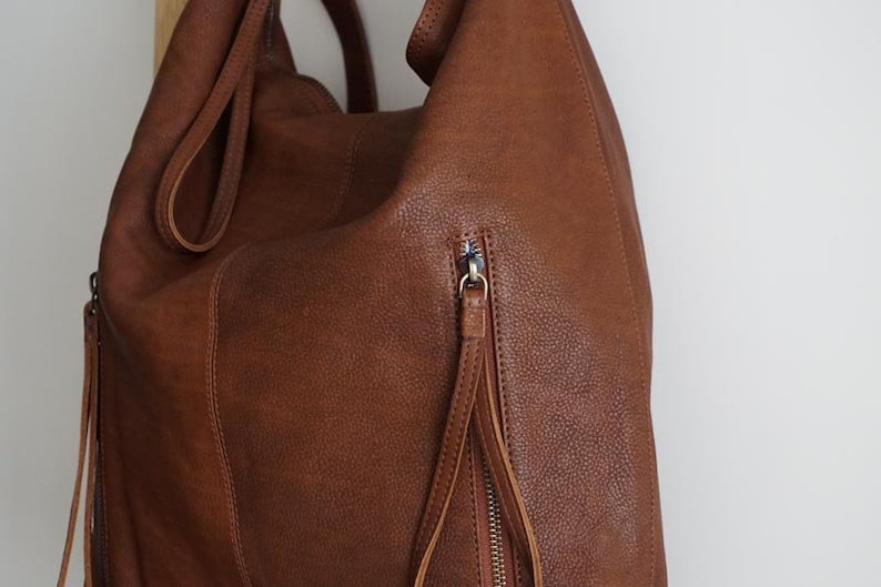 Brown leather womens bag Hobo tote bag Leather shoulder bag Slouchy leather bag backpack Soft leather tote bag Convertible backpack